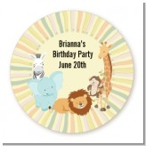 Jungle Safari Party - Round Personalized Birthday Party Sticker Labels