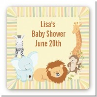 Jungle Safari Party - Square Personalized Baby Shower Sticker Labels