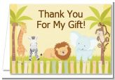 Jungle Safari Party - Baby Shower Thank You Cards