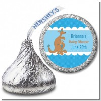Kangaroo Blue - Hershey Kiss Baby Shower Sticker Labels