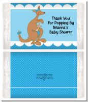 Kangaroo Blue - Personalized Popcorn Wrapper Baby Shower Favors