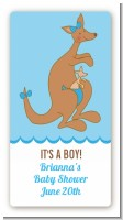 Kangaroo Blue - Custom Rectangle Baby Shower Sticker/Labels