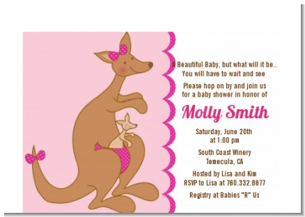 Kangaroo Pink - Baby Shower Petite Invitations