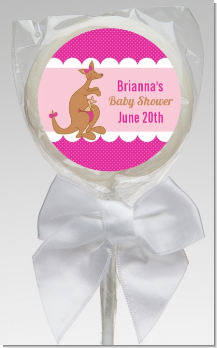 Kangaroo Pink - Personalized Baby Shower Lollipop Favors