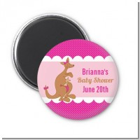 Kangaroo Pink - Personalized Baby Shower Magnet Favors