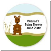 Kangaroo - Round Personalized Baby Shower Sticker Labels
