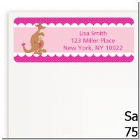 Kangaroo Pink - Baby Shower Return Address Labels