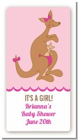 Kangaroo Pink - Custom Rectangle Baby Shower Sticker/Labels