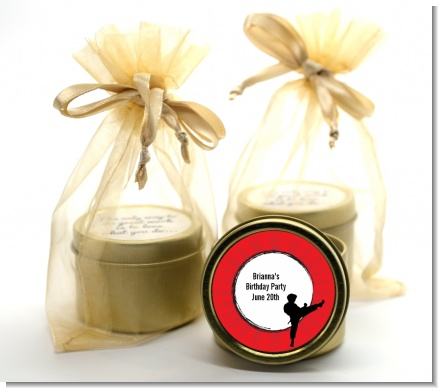 Karate Kid - Birthday Party Gold Tin Candle Favors