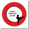 Karate Kid - Round Personalized Birthday Party Sticker Labels thumbnail