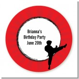 Karate Kid - Round Personalized Birthday Party Sticker Labels