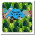 King of the Jungle Safari - Square Personalized Baby Shower Sticker Labels thumbnail