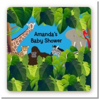 King of the Jungle Safari - Square Personalized Baby Shower Sticker Labels