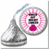 Knock Out Breast Cancer - Hershey Kiss Birthday Party Sticker Labels