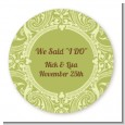Sage Green - Round Personalized Bridal Shower Sticker Labels thumbnail