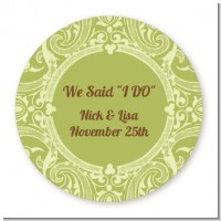Sage Green - Round Personalized Bridal Shower Sticker Labels