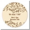 Beige & Brown - Round Personalized Bridal Shower Sticker Labels thumbnail