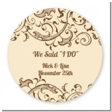Beige & Brown - Round Personalized Bridal Shower Sticker Labels