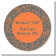 Grey & Orange - Round Personalized Bridal Shower Sticker Labels thumbnail