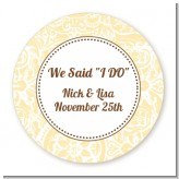 Pale Yellow & Brown - Round Personalized Bridal Shower Sticker Labels