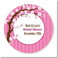 Cherry Blossom - Round Personalized Bridal Shower Sticker Labels