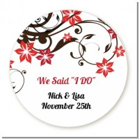 Floral Blossom - Round Personalized Bridal Shower Sticker Labels
