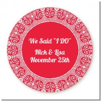Love is Blooming Red - Round Personalized Bridal Shower Sticker Labels
