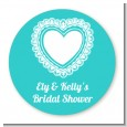 Lace of Hearts - Round Personalized Bridal Shower Sticker Labels thumbnail