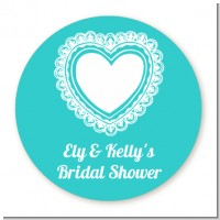 Lace of Hearts - Round Personalized Bridal Shower Sticker Labels