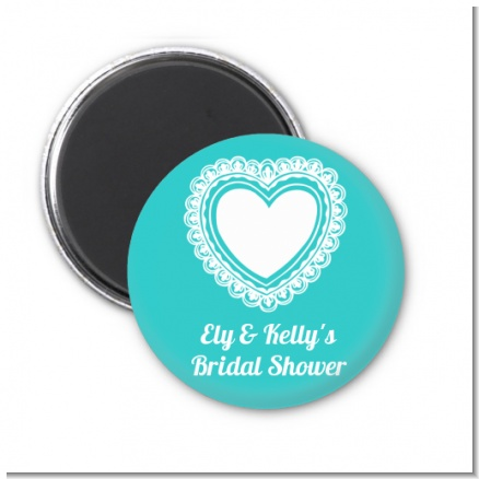 Lace of Hearts - Personalized Bridal Shower Magnet Favors