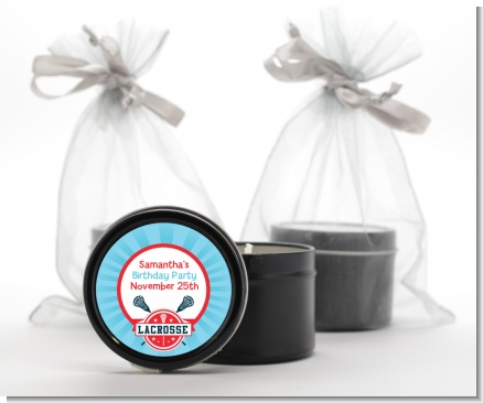 Lacrosse - Birthday Party Black Candle Tin Favors
