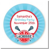 Lacrosse - Round Personalized Birthday Party Sticker Labels