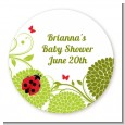 Ladybug - Round Personalized Baby Shower Sticker Labels thumbnail