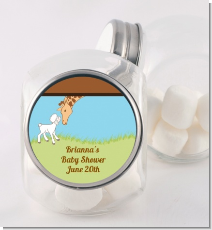 Lamb & Giraffe - Personalized Baby Shower Candy Jar