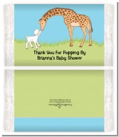 Lamb & Giraffe - Personalized Popcorn Wrapper Baby Shower Favors