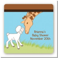 Lamb & Giraffe - Square Personalized Baby Shower Sticker Labels
