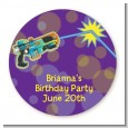 Laser Tag - Round Personalized Birthday Party Sticker Labels thumbnail