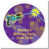 Laser Tag - Round Personalized Birthday Party Sticker Labels