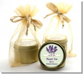 Lavender Flowers - Bridal Shower Gold Tin Candle Favors