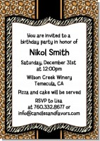 Leopard & Zebra Print - Birthday Party Invitations