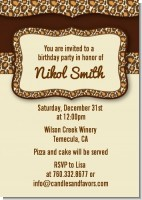 Leopard Brown - Birthday Party Invitations