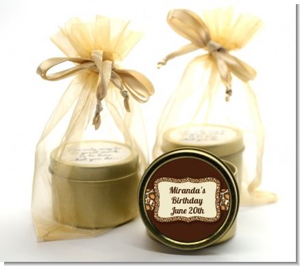 Leopard Brown - Birthday Party Gold Tin Candle Favors