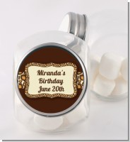Leopard Brown - Personalized Birthday Party Candy Jar