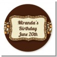 Leopard Brown - Round Personalized Birthday Party Sticker Labels thumbnail