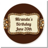 Leopard Brown - Round Personalized Birthday Party Sticker Labels