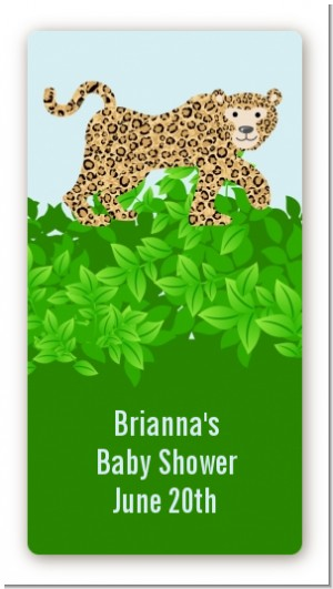 Leopard - Custom Rectangle Baby Shower Sticker/Labels