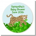 Leopard - Round Personalized Baby Shower Sticker Labels thumbnail