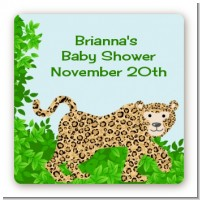 Leopard - Square Personalized Baby Shower Sticker Labels