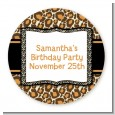 Leopard & Zebra Print - Round Personalized Birthday Party Sticker Labels thumbnail