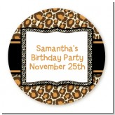Leopard & Zebra Print - Round Personalized Birthday Party Sticker Labels